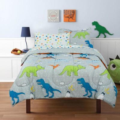 Dinosaur Walk Volcano Grey Bed in a Bag with Reversible Comforter