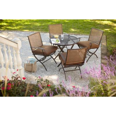 Hampton Bay Folding Woven 5-Piece Dining Patio Set with Seat Pads-DISCONTINUED