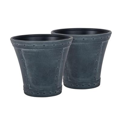 Rivanna 16 in. Round Granite Blow Molded Resin Planter (2-Pack)