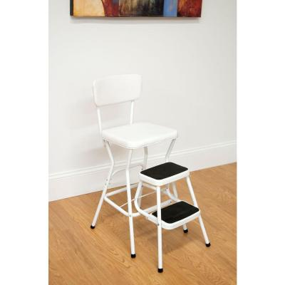 Cosco 24 in. White Cushioned Bar Stool