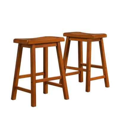 Home Decorators Collection 24 in. H Oak Saddleback Stool (Set of 2) - DISCONTINUED