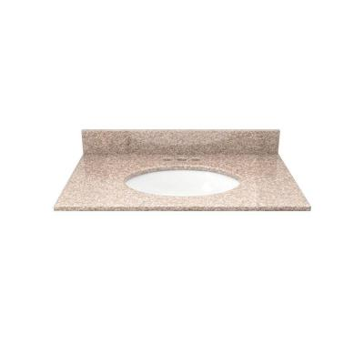 Solieque 25 in. Granite Vanity Top in Wheat with White Basin