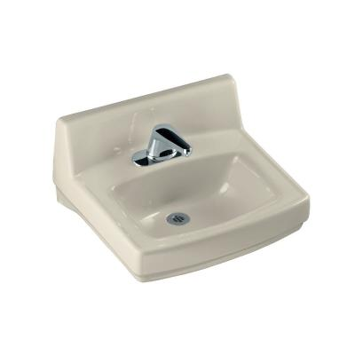KOHLER Greenwich Wall-Mount Vitreous China Bathroom Sink in Almond with Overflow Drain