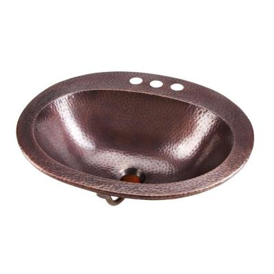 SINKOLOGY Rutherford 20 in. Drop-in Handmade Pure Solid Copper Bathroom Sink in Antique Copper