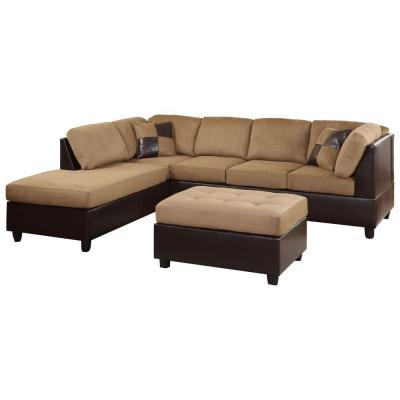 Arcadia Reversible Microfiber 3-Piece Sectional with Ottoman in Tan Product Photo