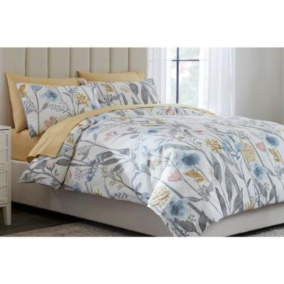 Purcell Washed Denim Botanical Duvet Cover Set