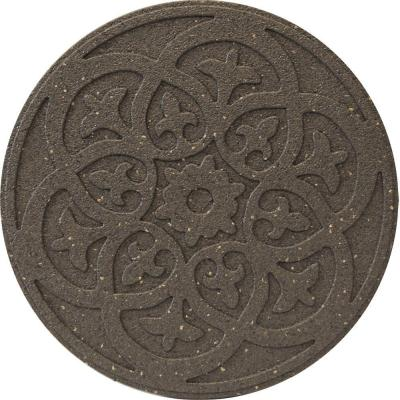 Envirotile Reversible Scroll 18 in. x 18 in. Round Rubber Earth Stepping Stone