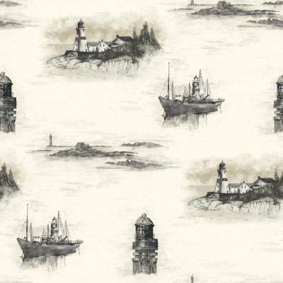The Wallpaper Company 56 sq. ft. Black and Beige Coastal Lighthouses Wallpaper