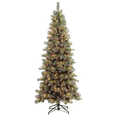 7.5 ft. Pre-Lit Snowy Silverton Pine Artificial Christmas Tree with Clear Lights Product Photo