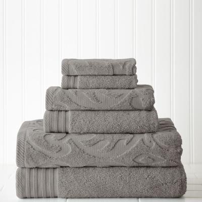 6-Piece Jacquard/Solid Medallion Swirl Towel Set
