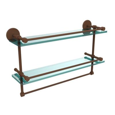Allied Brass 22 in. L  x 12 in. H  x 5 in. W 2-Tier Clear Glass Bathroom Shelf with Towel Bar in Antique Bronze