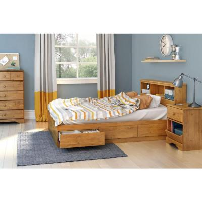 Little Treasures Full-Size 54 in. Headboard with Bookcase in Country Pine