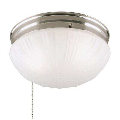 2-Light Brushed Nickel Flushmount Interior with Pull Chain and Frosted Fluted Glass Product Photo