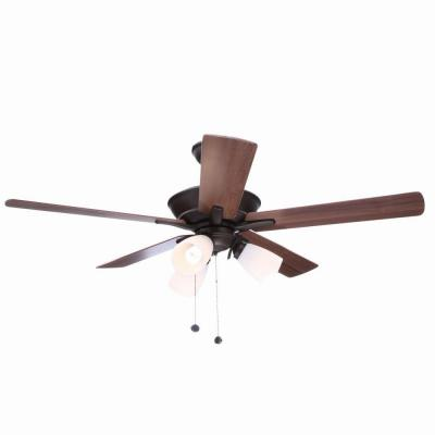 Hampton Bay Lampkin 52 in. Oiled Rubbed Bronze Ceiling Fan with Light Kit