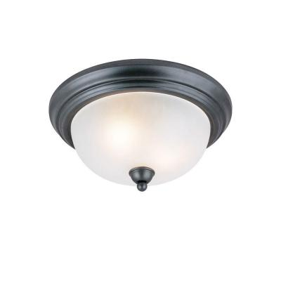 2-Light Ceiling Fixture Iron Granite Interior Flush-Mount with Frosted Glass