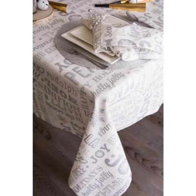Christmas Silver Collage Cotton Tablecloth