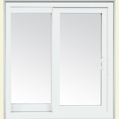 72 in. x 80 in. Glacier White Left-Hand Sliding Low-E Vinyl Patio Door with Screen and Handle set Product Photo