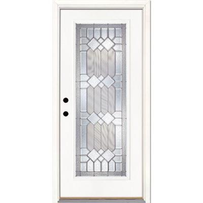 33.5 in. x 81.625 in. Mission Pointe Zinc Full Lite Unfinished Smooth Fiberglass Prehung Front Door Product Photo