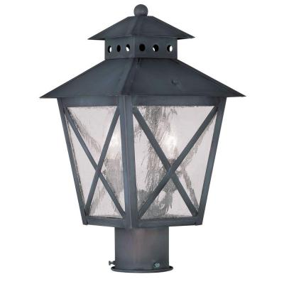 Filament Design Providence 2-Light 13 in. Outdoor Charcoal Post Head Lantern