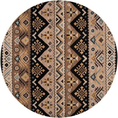 Dillon Black 8 ft. x 8 ft. Round Area Rug