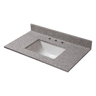 Pegasus 31 in. W Granite Vanity Top in Napoli with White Trough Bowl and 8 in. Faucet Spread