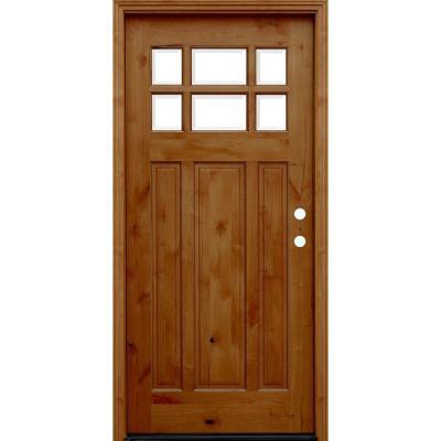 Craftsman Rustic 6 Lite Stained Knotty Alder Wood Prehung Front Door