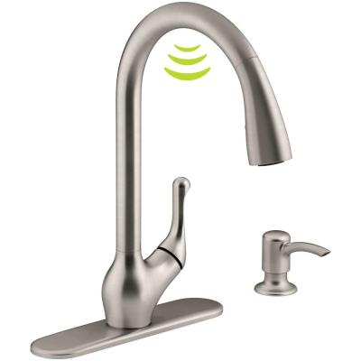 KOHLER Barossa with Response Touchless Technology Single-Handle Pull-Down Sprayer Kitchen Faucet in Vibrant Stainless