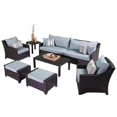 RST Brands Deco 8-Piece Patio Seating Set with Bliss Blue Cushions