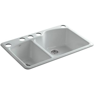 Wheatland Undermount Cast-Iron 33 in. 5-Hole Double Bowl Kitchen Sink in