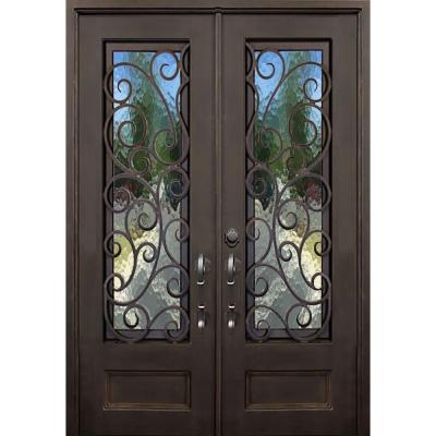 64 in. x 96 in. Lauderdale Dark Bronze Right-Hand Inswing Painted Iron Prehung Front Door w/ Privacy Glass and Hardware Product Photo