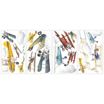 10 in. x 18 in. Vintage Planes 22-Piece Peel and Stick