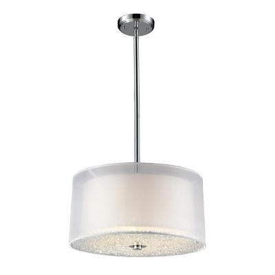 Crystals 3-Light Polished Chrome Ceiling Pendant