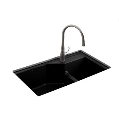 KOHLER Indio Smart Divide Undermount Cast Iron 33 in. 1-Hole Double Bowl Kitchen Sink in Black Black