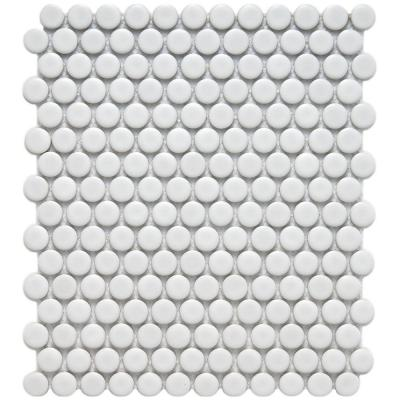 Metro Penny Matte White 9-3/4 in. x 11-1/2 in. x 6 mm Porcelain Mosaic Tile (8 sq. ft. / case) Product Photo