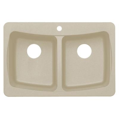 Astracast Dual Mount Granite 33 in. 3-Hole Double Basin Kitchen Sink in Sahara Beige