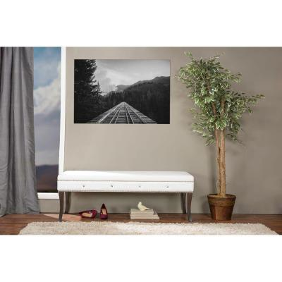Aloisia Leather Contemporary Bench in White