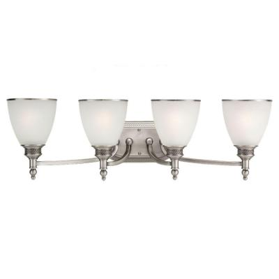 Laurel Leaf 4-Light Antique Brushed Nickel Vanity Light