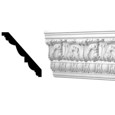 4-1/2 in. x 3-15/16 in. x 96 in. Egg and Dart Acanthus Polyurethane Crown Moulding Product Photo