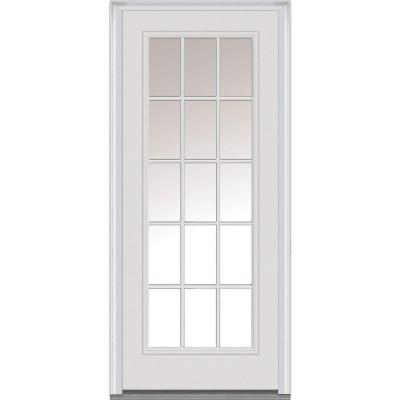 36 in. x 80 in. Classic Clear Glass 15 Lite Primed White Majestic Steel Prehung Front Door Product Photo