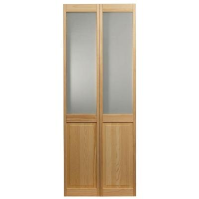 24 in. x 80 in. Frosted Glass Over Raised Panel Pine Interior Bi-fold Door Product Photo