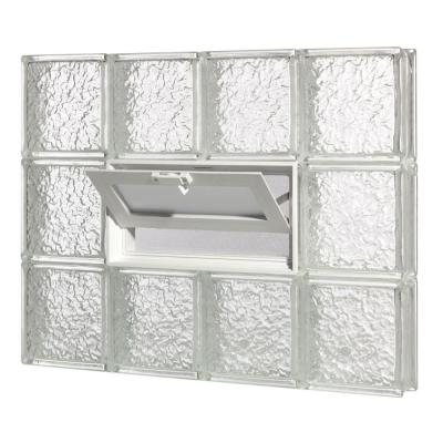 Pittsburgh Corning 34.75 in. x 25.5 in. x 3 in. GuardWise Vented IceScapes Pattern Glass Block Window