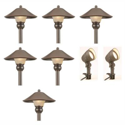 hampton bay low voltage bronze outdoor led light kit 8 pack iwv6628l
