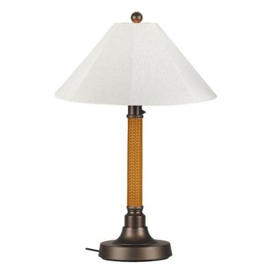 Patio Living Concepts Bahama Weave 34 in. Mocha Cream Outdoor Table Lamp with Natural Linen Shade