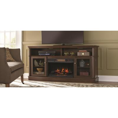 Home Decorators Collection Tolleson 68 In Media Console Infrared Bow Front Electric Fireplace