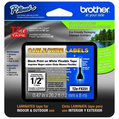 Brother TZ 12mm x 26-1/5 ft. Cable/Wire Labeling Tape