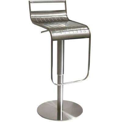 AmeriHome Adjustable Stainless Steel Bar Stool with Back