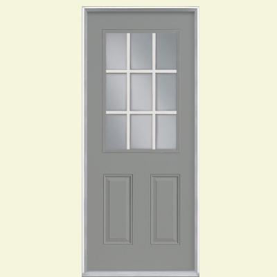 Masonite 9 Lite Painted Steel Prehung Front Door With No Brickmold 35396 Th