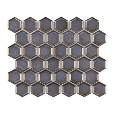 Moonrock 9-7/8 in. x 11-3/8 in. x 8 mm Porcelain Mosaic