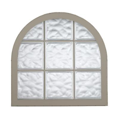 Hy lite 42 in x 50 in acrylic block round top vinyl for Plastic glass block windows