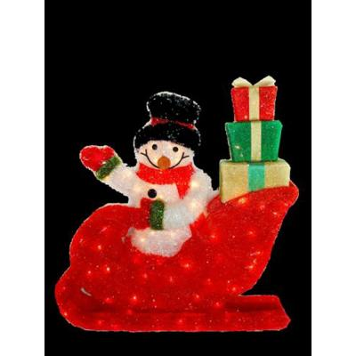 28 in. Waving Snowman in Santa's Sleigh with 85 Clear Lights